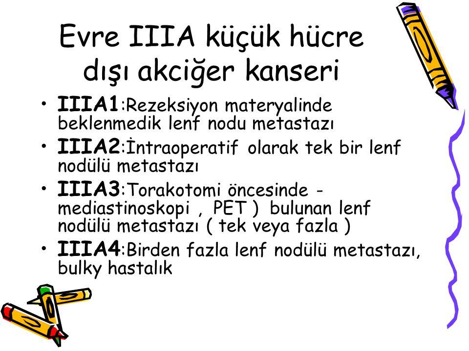 Evre IIIA küçük hücre dışı akciğer kanseri IIIA1 :Rezeksiyon materyalinde beklenmedik lenf nodu metastazı IIIA2 :İntraoperatif olarak tek bir lenf nod