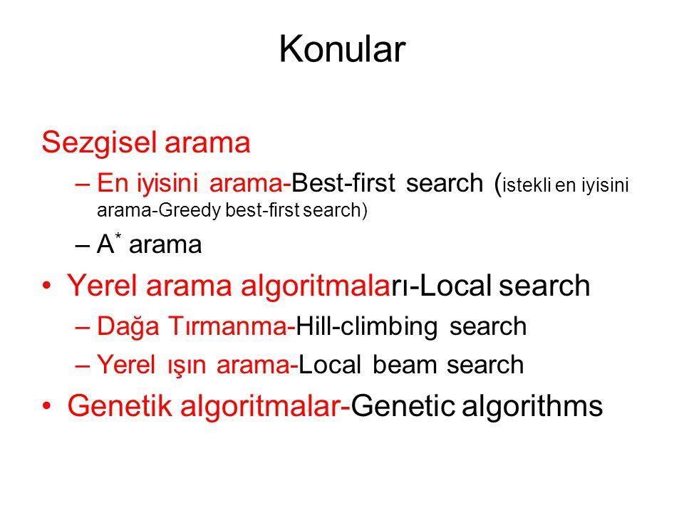 Konular Sezgisel arama –En iyisini arama-Best-first search ( istekli en iyisini arama-Greedy best-first search) –A * arama Yerel arama algoritmaları-L
