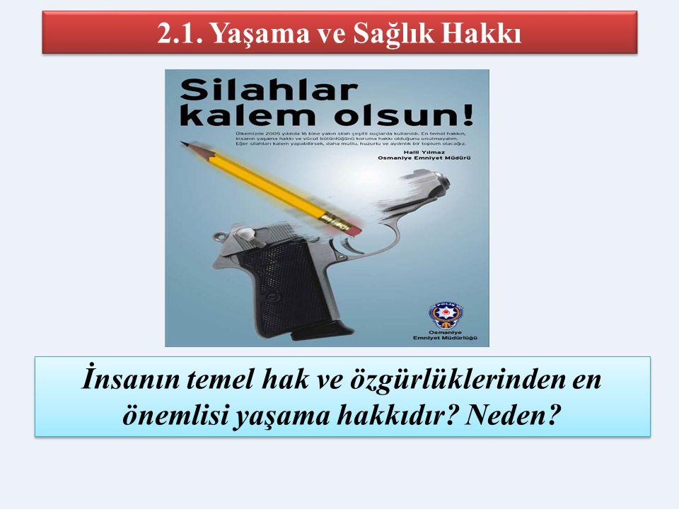 İslam'da temel hakları korumak için 5 prensip 1. Canın korunması 2. Dinin korunması 3. Aklın korunması 4. Şeref ve namusun korunması 5. Malın korunmas