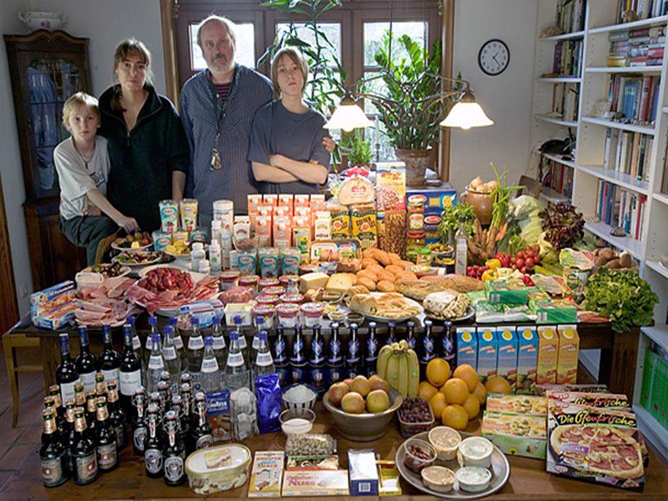 Dikkat !!! Az sonra izleyeceğiniz fotoğraflar resimlerdeki ailelerin bir haftalık yiyeceklerini ifade etmektedir.