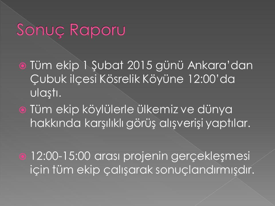  Tüm ekip 1 Şubat 2015 günü Ankara'dan Çubuk ilçesi Kösrelik Köyüne 12:00'da ulaştı.