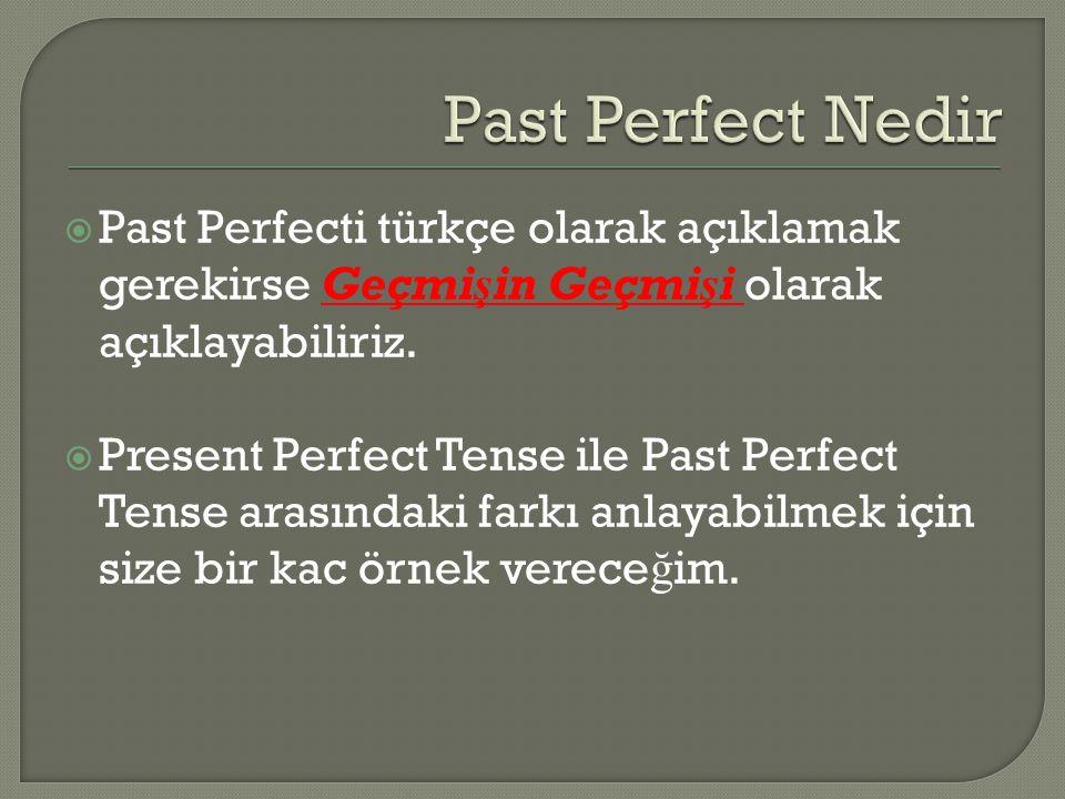  Past Perfecti türkçe olarak açıklamak gerekirse Geçmişin Geçmişi olarak açıklayabiliriz.  Present Perfect Tense ile Past Perfect Tense arasındaki f