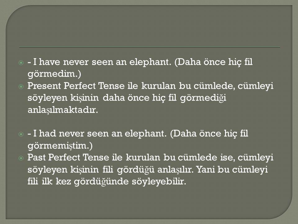  - I have never seen an elephant. (Daha önce hiç fil görmedim.)  Present Perfect Tense ile kurulan bu cümlede, cümleyi söyleyen ki ş inin daha önce