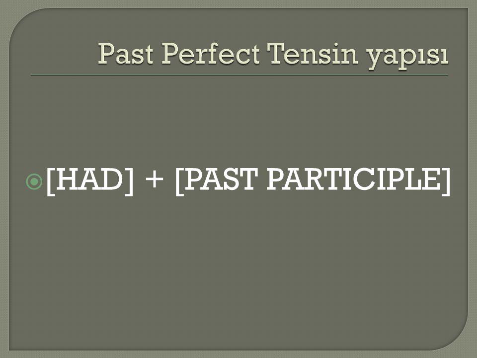  [HAD] + [PAST PARTICIPLE]