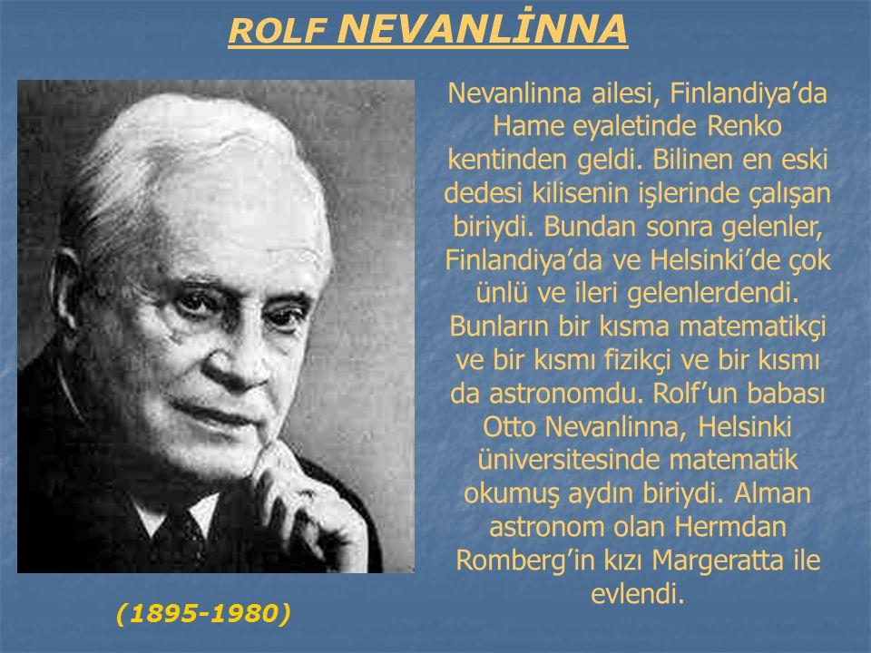 Rolf Nevanlinna 22 Ekim 1895 günü Joensuu'da doğdu.