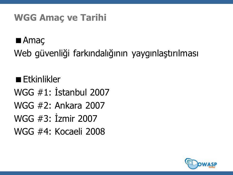 WGG Amaç ve Tarihi  Amaç Web güvenliği farkındalığının yaygınlaştırılması  Etkinlikler WGG #1: İstanbul 2007 WGG #2: Ankara 2007 WGG #3: İzmir 2007 WGG #4: Kocaeli 2008