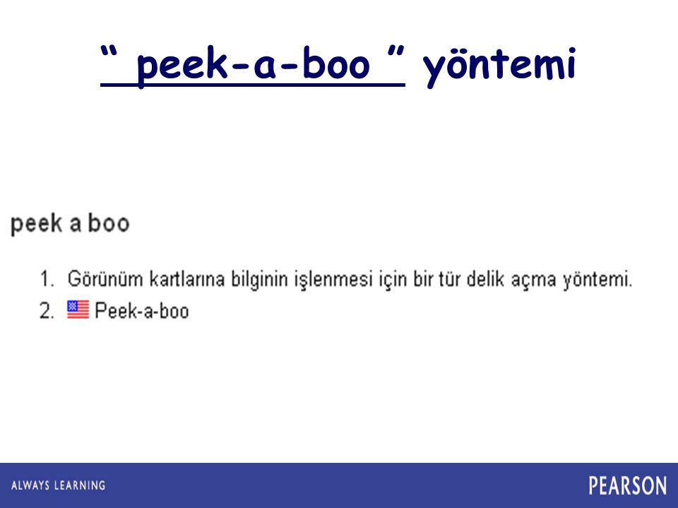 """"""" peek-a-boo """" yöntemi"""