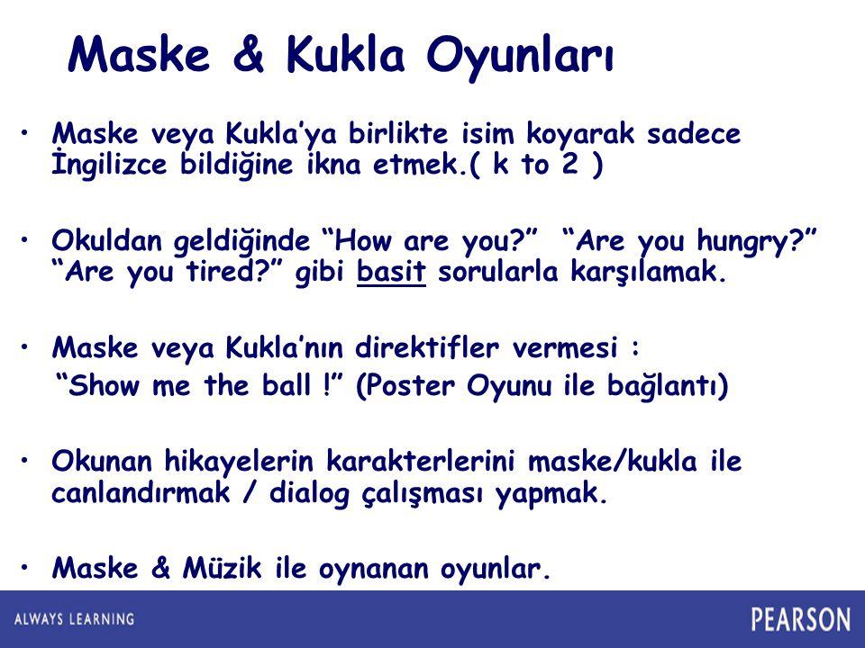 Maske veya Kukla'ya birlikte isim koyarak sadece İngilizce bildiğine ikna etmek.( k to 2 ) Okuldan geldiğinde How are you? Are you hungry? Are you tired? gibi basit sorularla karşılamak.