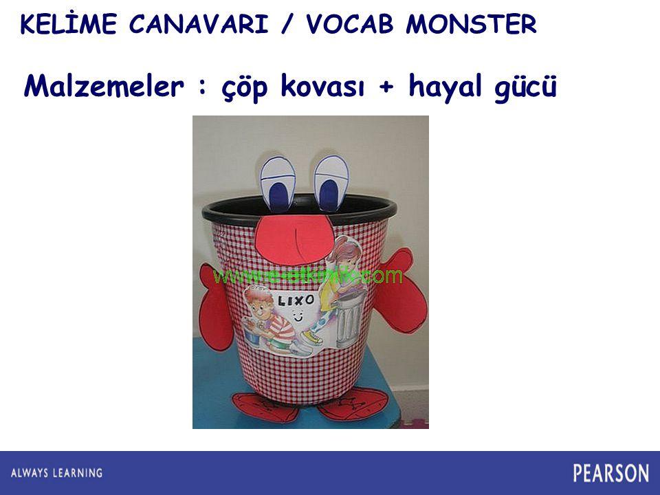 KELİME CANAVARI / VOCAB MONSTER Malzemeler : çöp kovası + hayal gücü