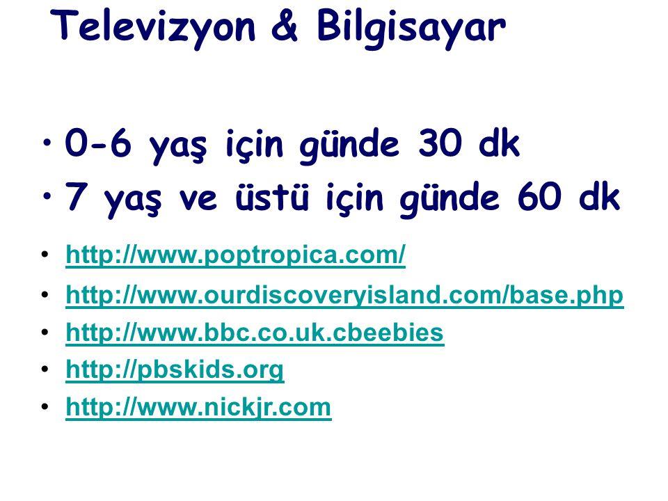 Televizyon & Bilgisayar 0-6 yaş için günde 30 dk 7 yaş ve üstü için günde 60 dk http://www.poptropica.com/ http://www.ourdiscoveryisland.com/base.php http://www.bbc.co.uk.cbeebies http://pbskids.org http://www.nickjr.com