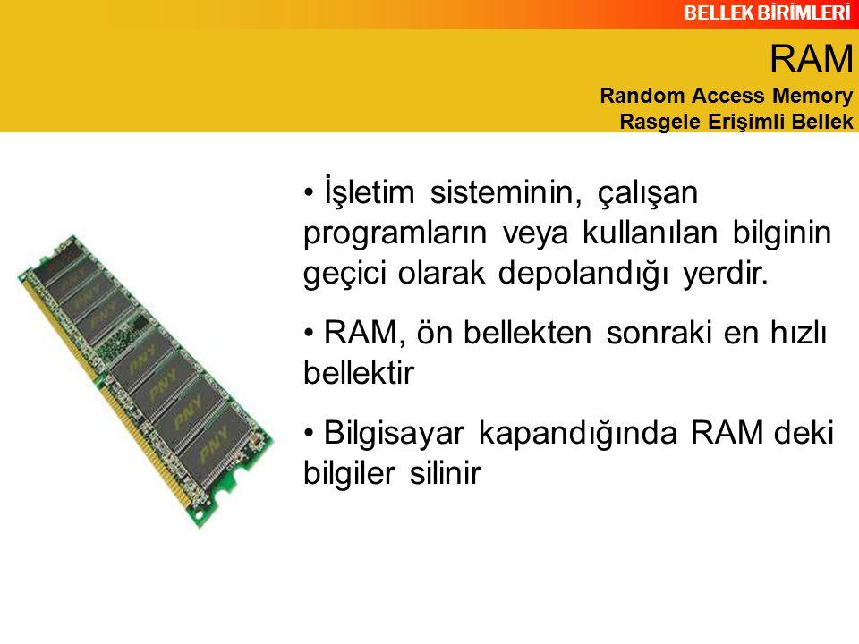 BELLEK BİRİMLERİ FAYDALARI 100 Mhz SDRam de veri yolu genişliği 800 MB / sn iken 100 Mhz DDR Ram de veri yolu genişliği 1600 MB/sn dir.
