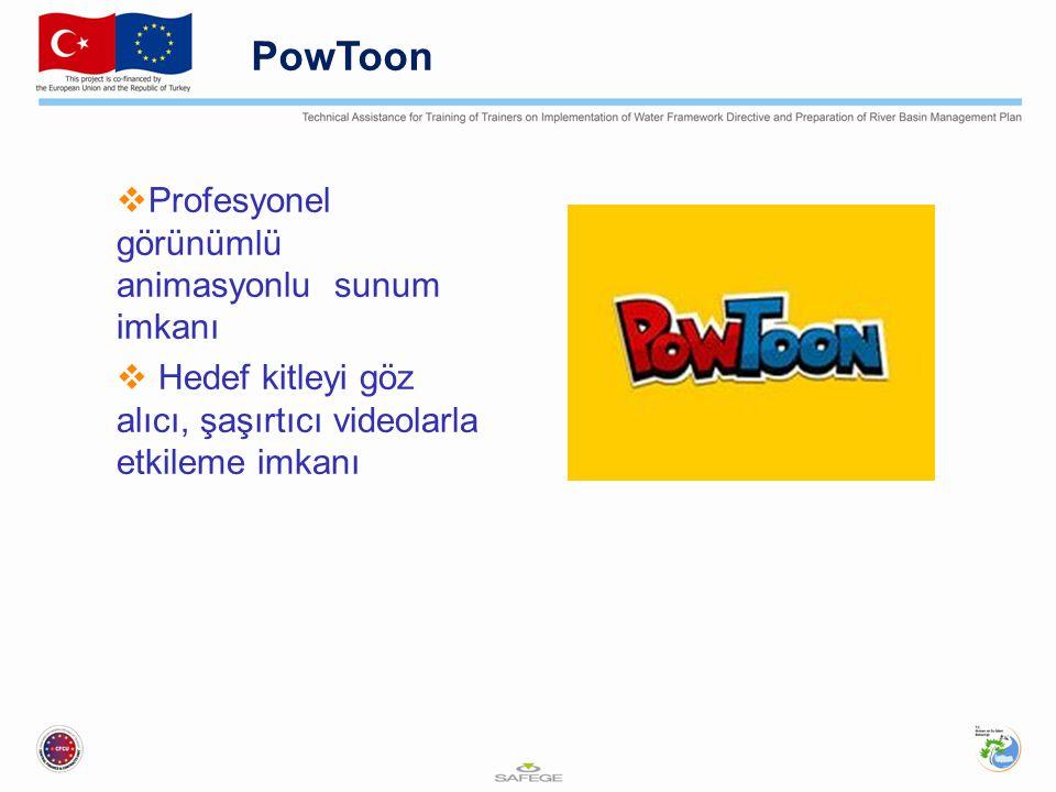 PowToon  Profesyonel görünümlü animasyonlu sunum imkanı  Hedef kitleyi göz alıcı, şaşırtıcı videolarla etkileme imkanı
