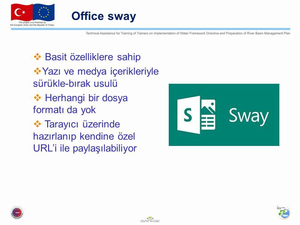 Office sway  Basit özelliklere sahip  Yazı ve medya içerikleriyle sürükle-bırak usulü  Herhangi bir dosya formatı da yok  Tarayıcı üzerinde hazırl