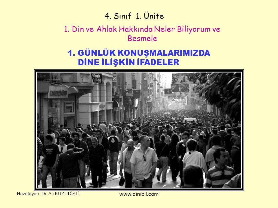 Hazırlayan: Dr.Ali KUZUDİŞLİ www.dinibil.com 4. Sınıf 1.