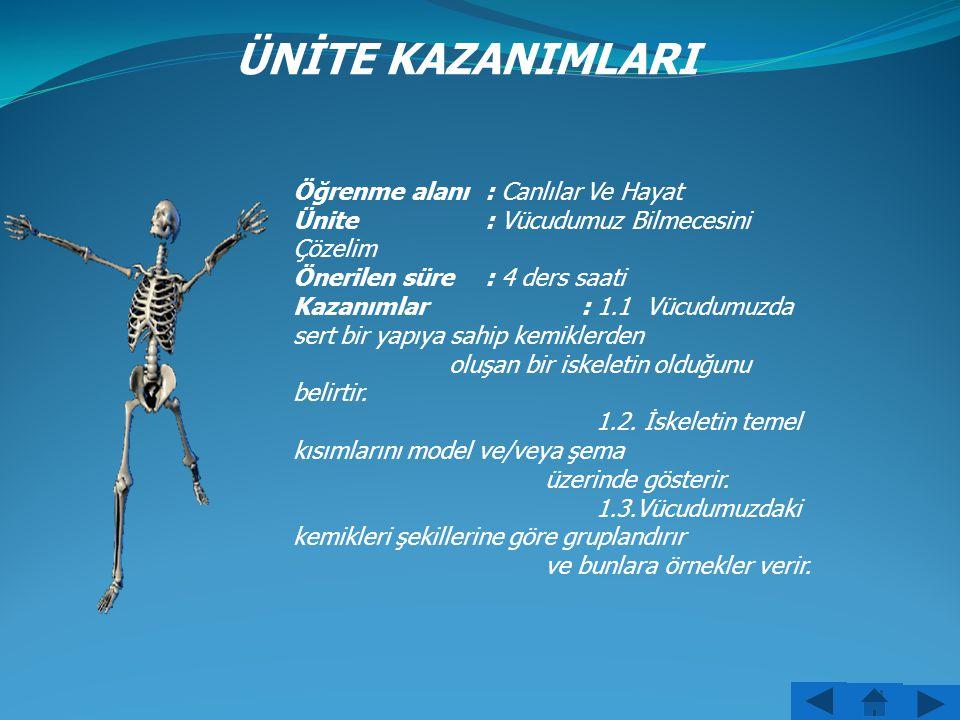 ÜNİTE KAZANIMLARI Öğrenme alanı: Canlılar Ve Hayat Ünite : Vücudumuz Bilmecesini Çözelim Önerilen süre : 4 ders saati Kazanımlar: 1.1 Vücudumuzda sert bir yapıya sahip kemiklerden oluşan bir iskeletin olduğunu belirtir.