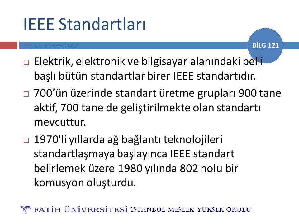 BİLG 121 IEEE Standartları  Elektrik, elektronik ve bilgisayar alanındaki belli başlı bütün standartlar birer IEEE standartıdır..  700'ün üzerinde s