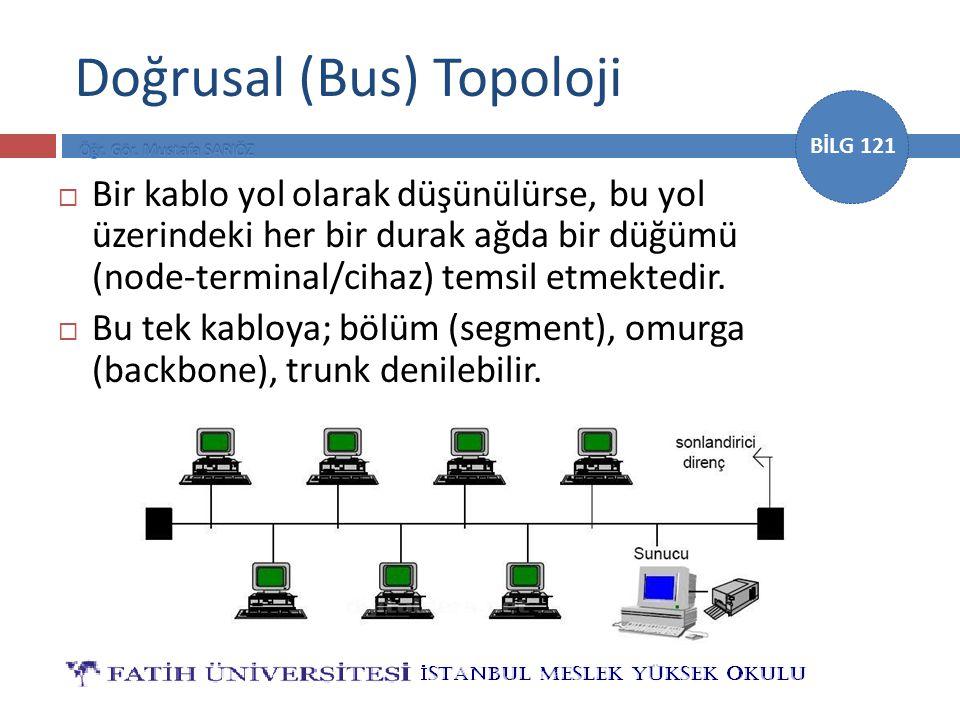 BİLG 121 Doğrusal (Bus) Topoloji  Bir kablo yol olarak düşünülürse, bu yol üzerindeki her bir durak ağda bir düğümü (node-terminal/cihaz) temsil etme