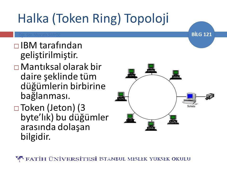 BİLG 121 Halka (Token Ring) Topoloj i  IBM tarafından geliştirilmiştir.  Mantıksal olarak bir daire şeklinde tüm düğümlerin birbirine bağlanması. 