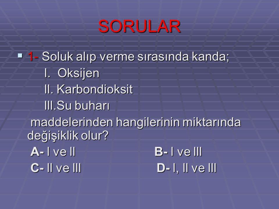SORULAR  1- Soluk alıp verme sırasında kanda; l.Oksijen l.