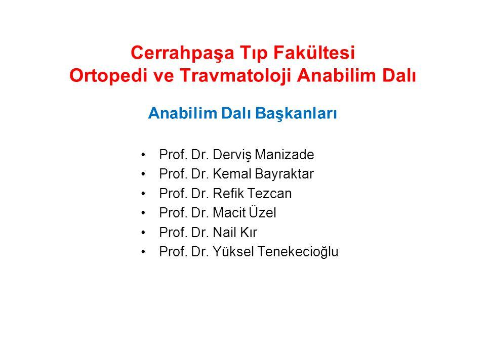 Cerrahpaşa Tıp Fakültesi Ortopedi ve Travmatoloji Anabilim Dalı Poliklinik Sayıları
