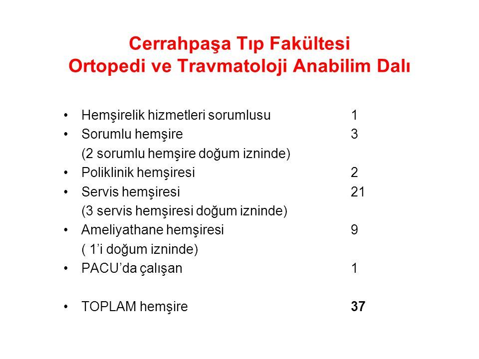 Cerrahpaşa Tıp Fakültesi Ortopedi ve Travmatoloji Anabilim Dalı Yatan Hastalar 8 6 5 5 24