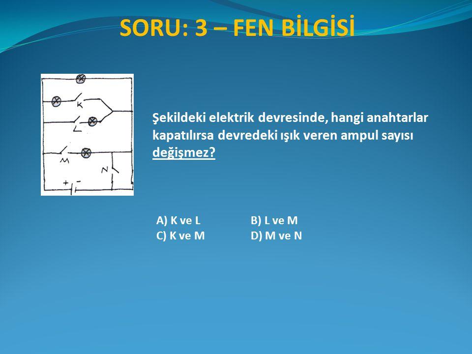 SORU: 3 – FEN BİLGİSİ A) K ve LB) L ve M C) K ve MD) M ve N Şekildeki elektrik devresinde, hangi anahtarlar kapatılırsa devredeki ışık veren ampul sayısı değişmez