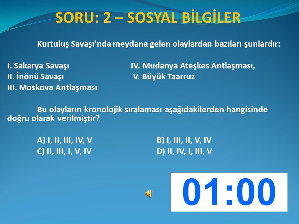 SORU: 2 – SOSYAL BİLGİLER Kurtuluş Savaşı'nda meydana gelen olaylardan bazıları şunlardır: I. Sakarya Savaşı IV. Mudanya Ateşkes Antlaşması, II. İnönü