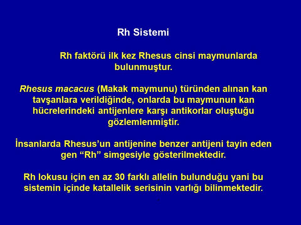 Rh Sistemi Rh faktörü ilk kez Rhesus cinsi maymunlarda bulunmuştur. Rhesus macacus (Makak maymunu) türünden alınan kan tavşanlara verildiğinde, onlard