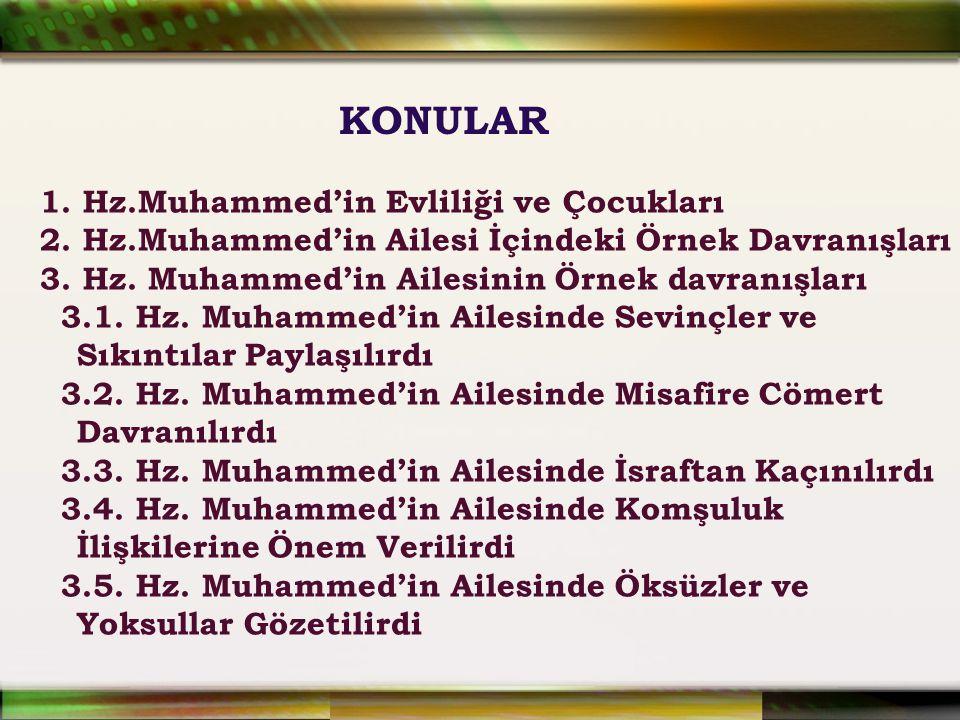 1. Hz.Muhammed'in Evliliği ve Çocukları 2. Hz.Muhammed'in Ailesi İçindeki Örnek Davranışları 3. Hz. Muhammed'in Ailesinin Örnek davranışları 3.1. Hz.