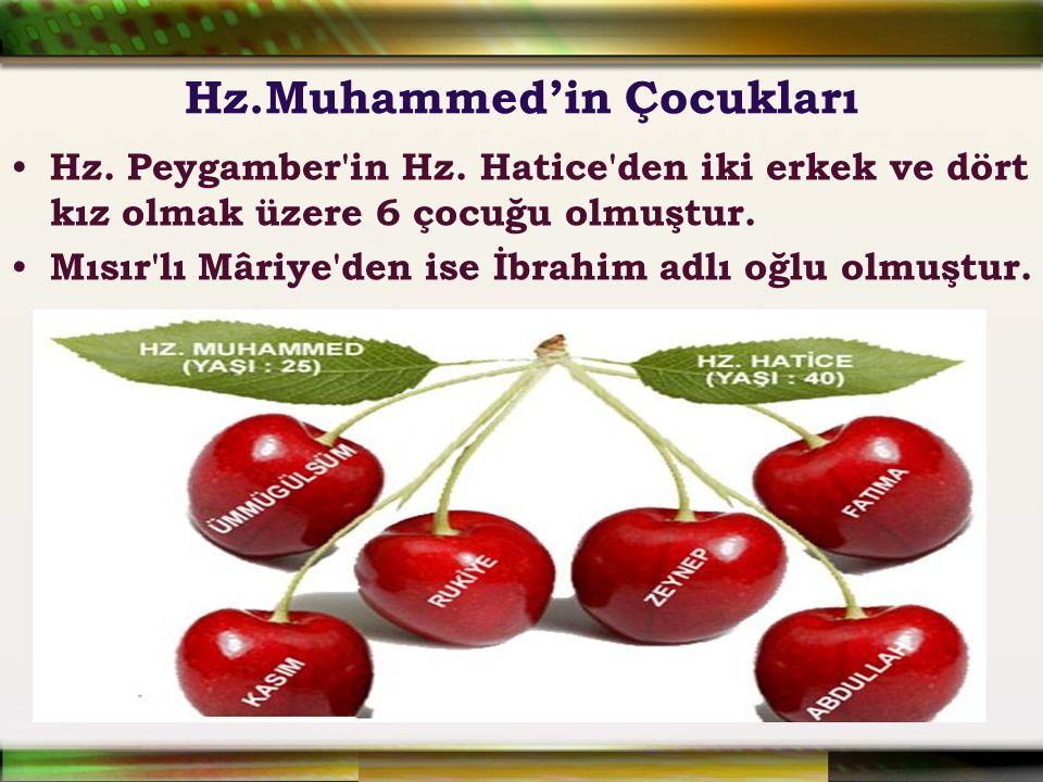 Hz.Muhammed'in Çocukları Hz. Peygamber'in Hz. Hatice'den iki erkek ve dört kız olmak üzere 6 çocuğu olmuştur. Mısır'lı Mâriye'den ise İbrahim adlı oğl