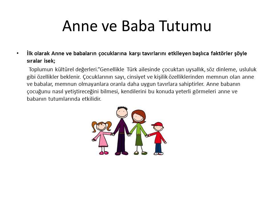 Anne ve Baba Tutumu İlk olarak Anne ve babaların çocuklarına karşı tavırlarını etkileyen başlıca faktörler şöyle sıralar isek; Toplumun kültürel değer