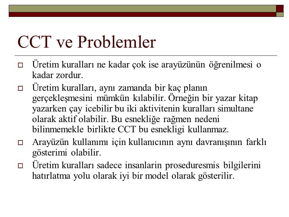 CCT ve Problemler  Üretim kuralları ne kadar çok ise arayüzünün öğrenilmesi o kadar zordur.  Üretim kuralları, aynı zamanda bir kaç planın gerçekleş