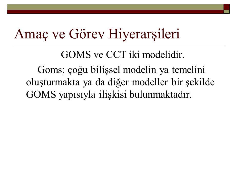 Amaç ve Görev Hiyerarşileri GOMS ve CCT iki modelidir. Goms; çoğu bilişsel modelin ya temelini oluşturmakta ya da diğer modeller bir şekilde GOMS yapı