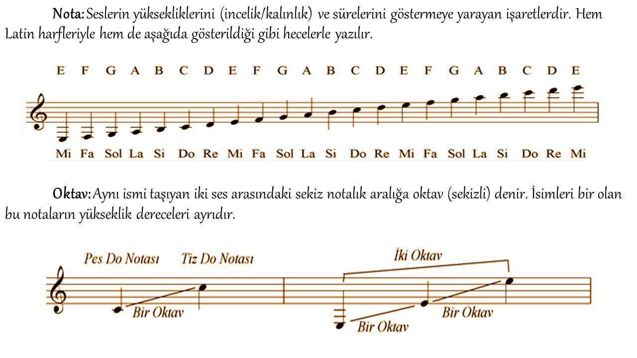 Nota: Seslerin yüksekliklerini (incelik/kalınlık) ve sürelerini göstermeye yarayan işaretlerdir. Hem Latin harfleriyle hem de aşağıda gösterildiği gib