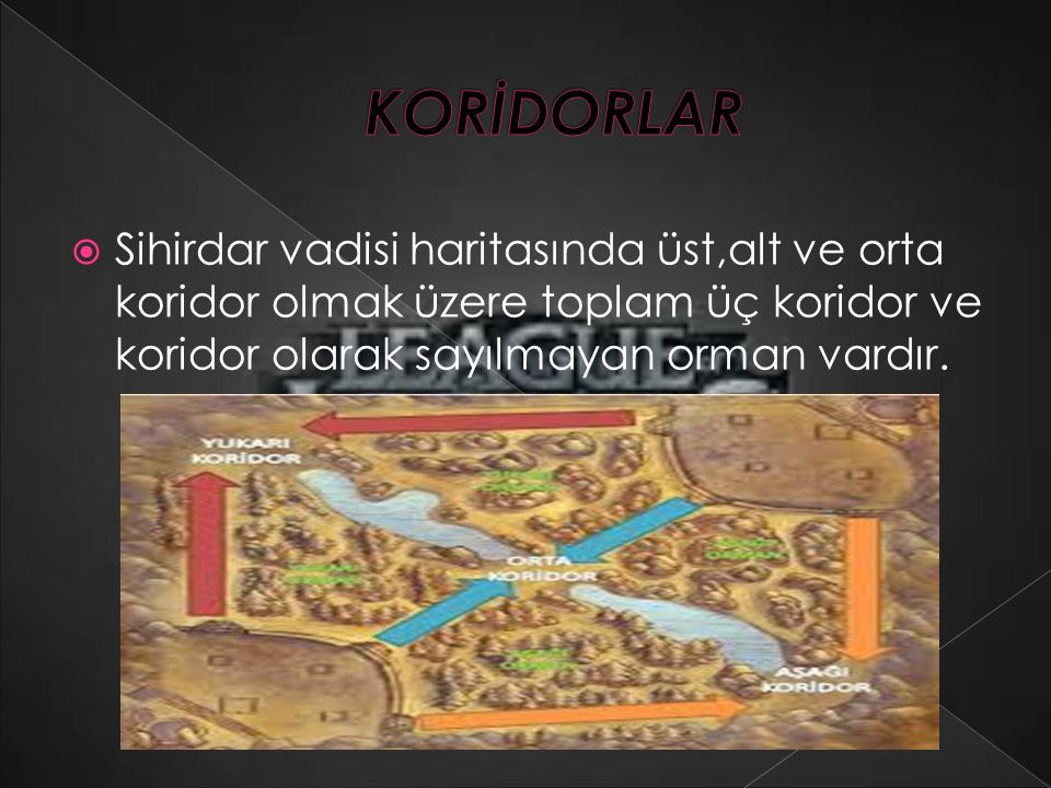  Sihirdar vadisi haritasında üst,alt ve orta koridor olmak üzere toplam üç koridor ve koridor olarak sayılmayan orman vardır.
