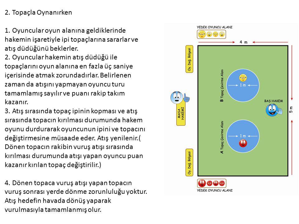 2. Topaçla Oynanırken 1. Oyuncular oyun alanına geldiklerinde hakemin işaretiyle ipi topaçlarına sararlar ve atış düdüğünü beklerler. 2. Oyuncular hak