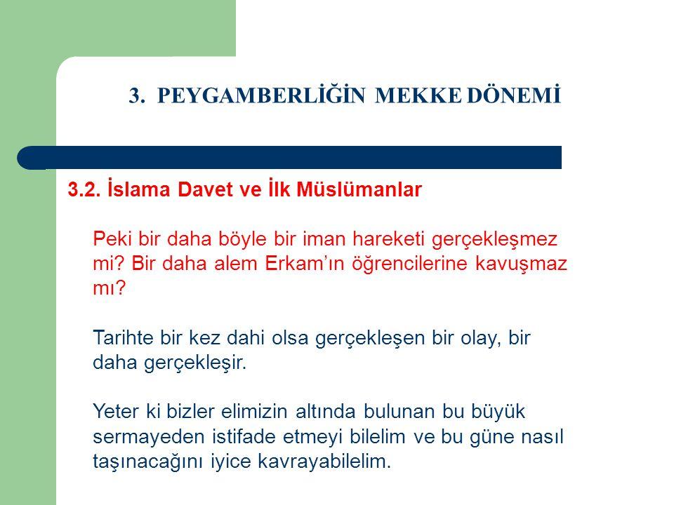 3. PEYGAMBERLİĞİN MEKKE DÖNEMİ 3.2. İslama Davet ve İlk Müslümanlar Peki bir daha böyle bir iman hareketi gerçekleşmez mi? Bir daha alem Erkam'ın öğre