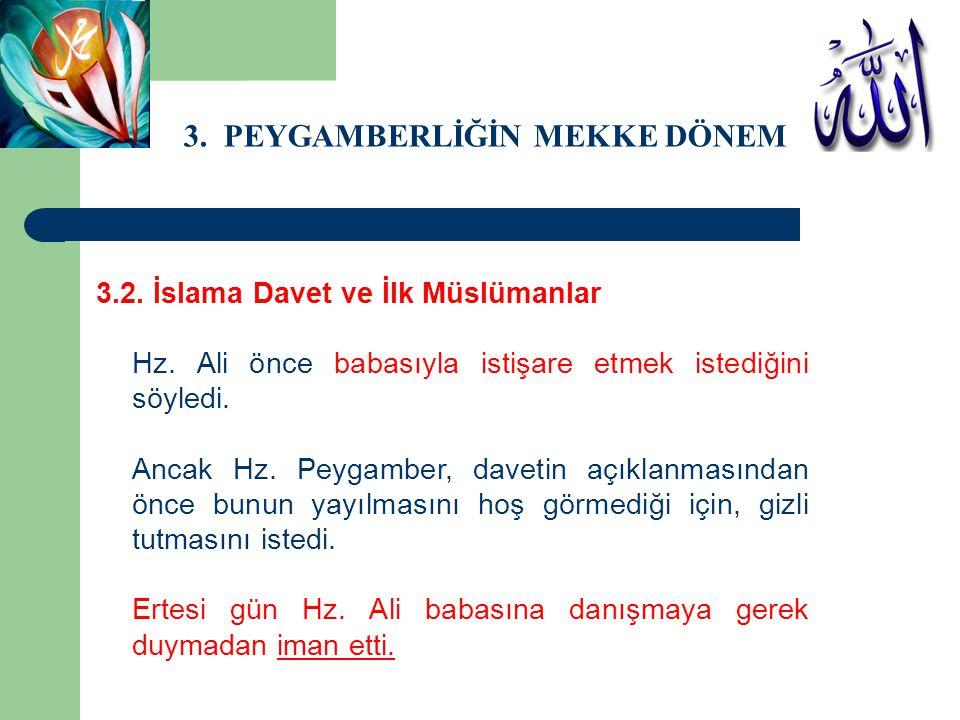3. PEYGAMBERLİĞİN MEKKE DÖNEMİ 3.2. İslama Davet ve İlk Müslümanlar Hz. Ali önce babasıyla istişare etmek istediğini söyledi. Ancak Hz. Peygamber, dav