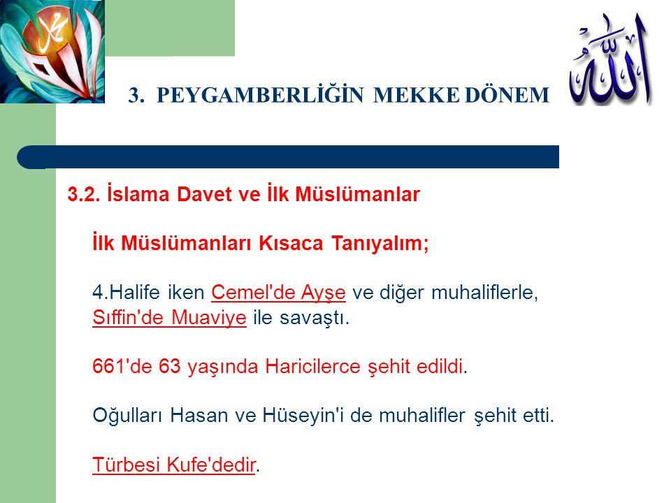 3. PEYGAMBERLİĞİN MEKKE DÖNEMİ 3.2. İslama Davet ve İlk Müslümanlar İlk Müslümanları Kısaca Tanıyalım; 4.Halife iken Cemel'de Ayşe ve diğer muhalifler