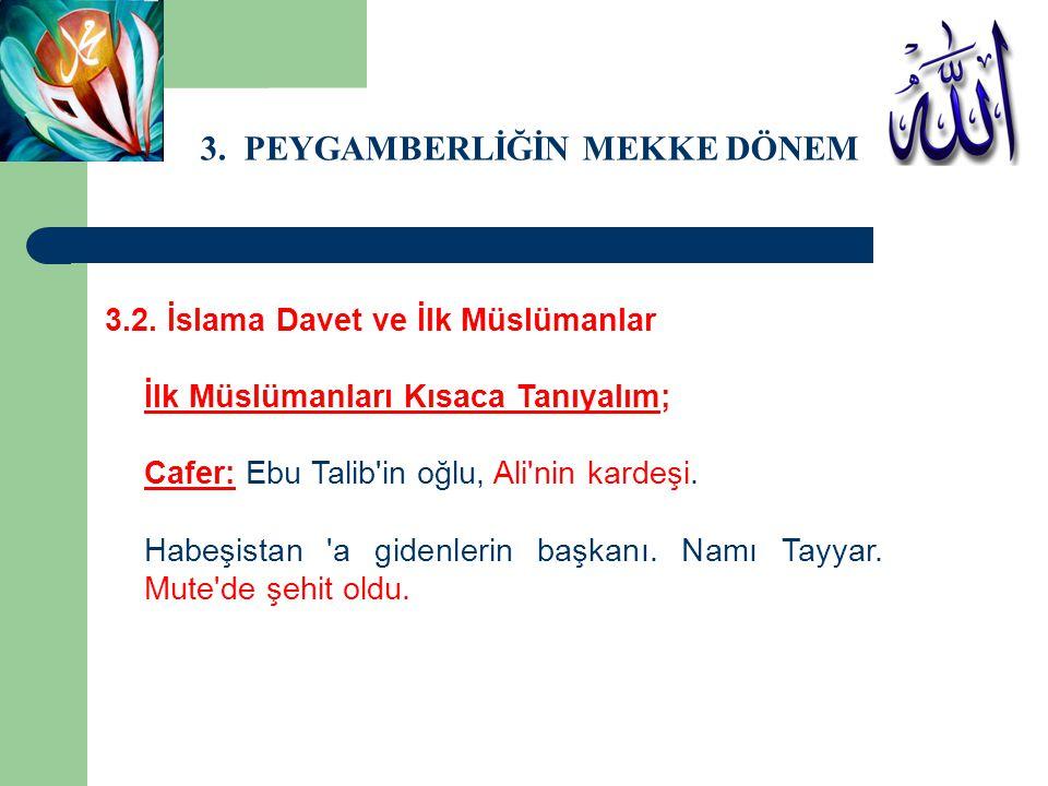 3. PEYGAMBERLİĞİN MEKKE DÖNEMİ 3.2. İslama Davet ve İlk Müslümanlar İlk Müslümanları Kısaca Tanıyalım; Cafer: Ebu Talib'in oğlu, Ali'nin kardeşi. Habe