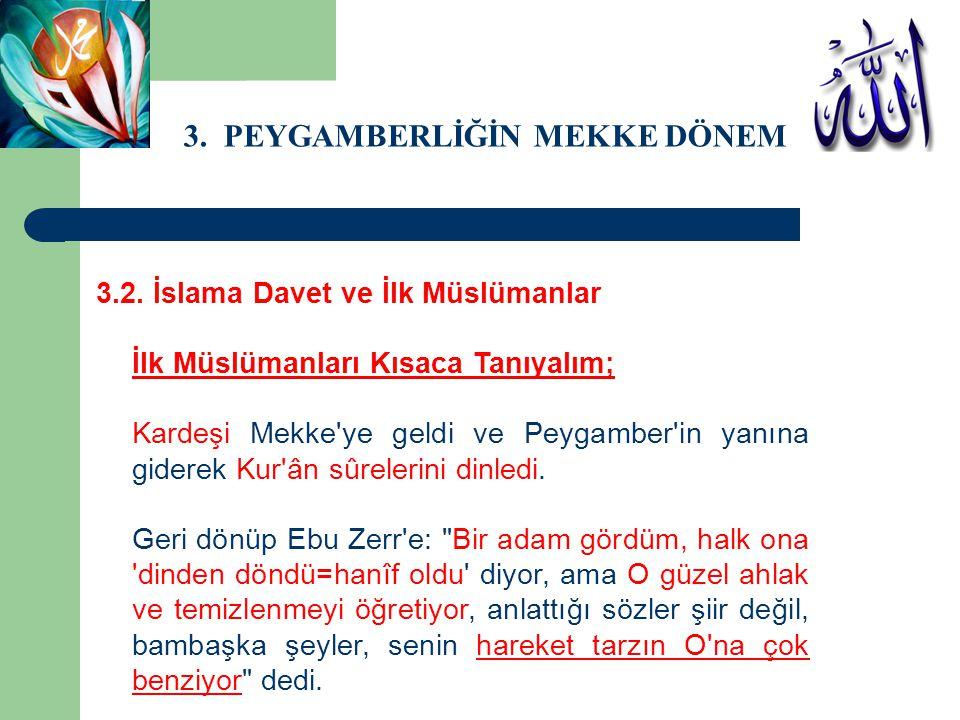 3. PEYGAMBERLİĞİN MEKKE DÖNEMİ 3.2. İslama Davet ve İlk Müslümanlar İlk Müslümanları Kısaca Tanıyalım; Kardeşi Mekke'ye geldi ve Peygamber'in yanına g