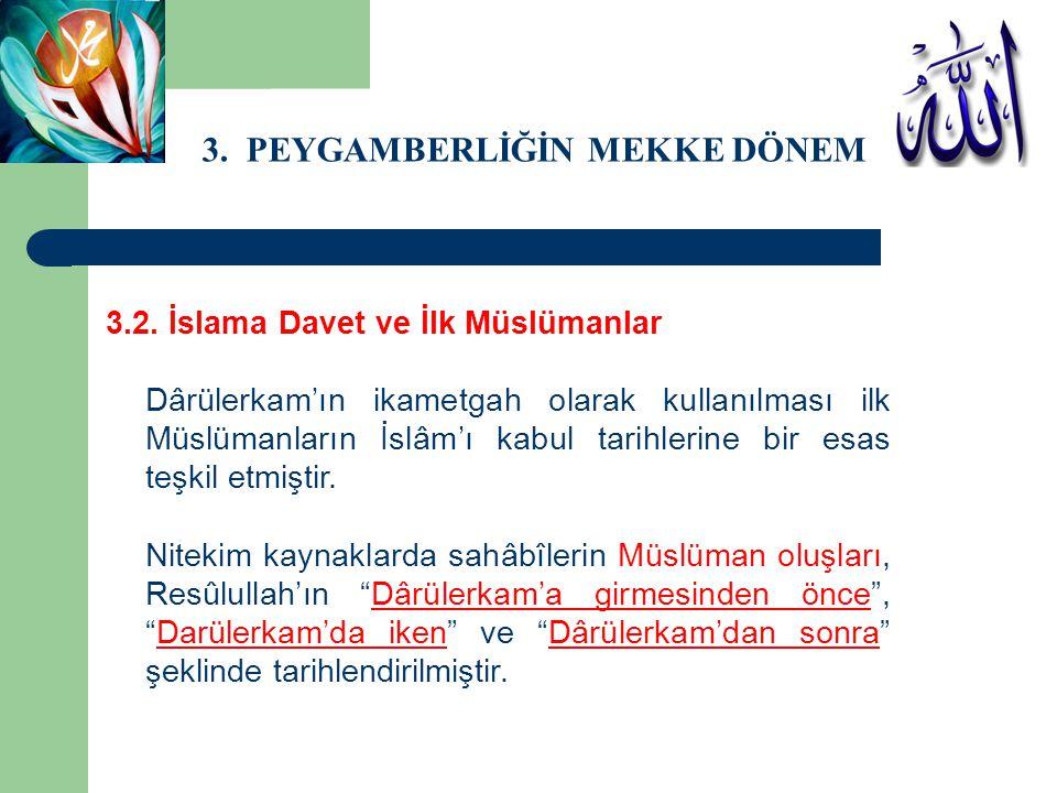 3. PEYGAMBERLİĞİN MEKKE DÖNEMİ 3.2. İslama Davet ve İlk Müslümanlar Dârülerkam'ın ikametgah olarak kullanılması ilk Müslümanların İslâm'ı kabul tarihl