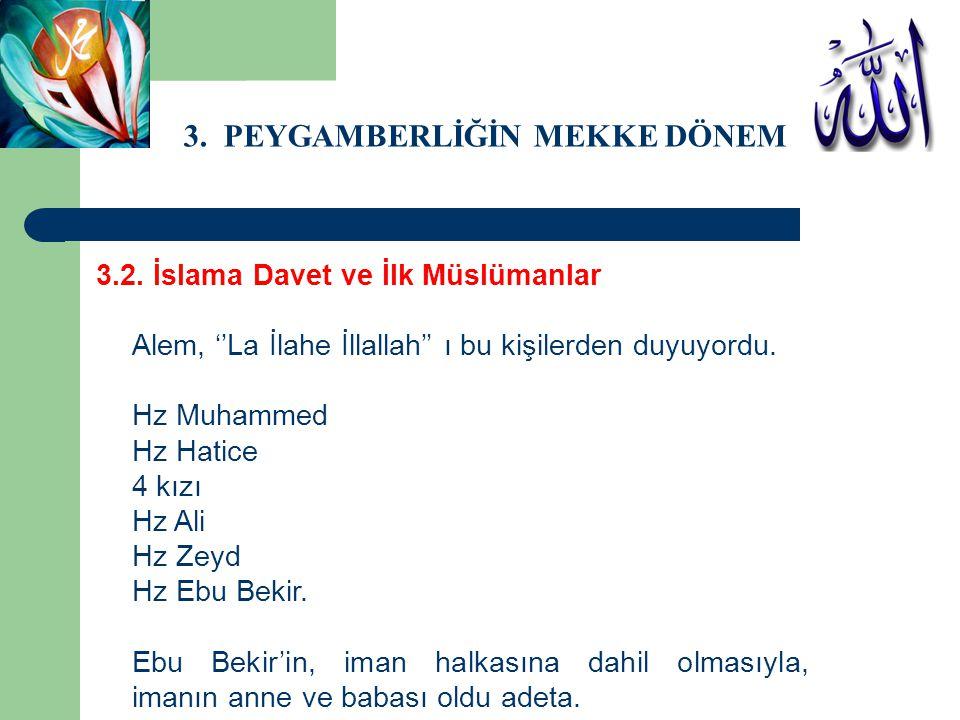 3. PEYGAMBERLİĞİN MEKKE DÖNEMİ 3.2. İslama Davet ve İlk Müslümanlar Alem, ''La İlahe İllallah'' ı bu kişilerden duyuyordu. Hz Muhammed Hz Hatice 4 kız