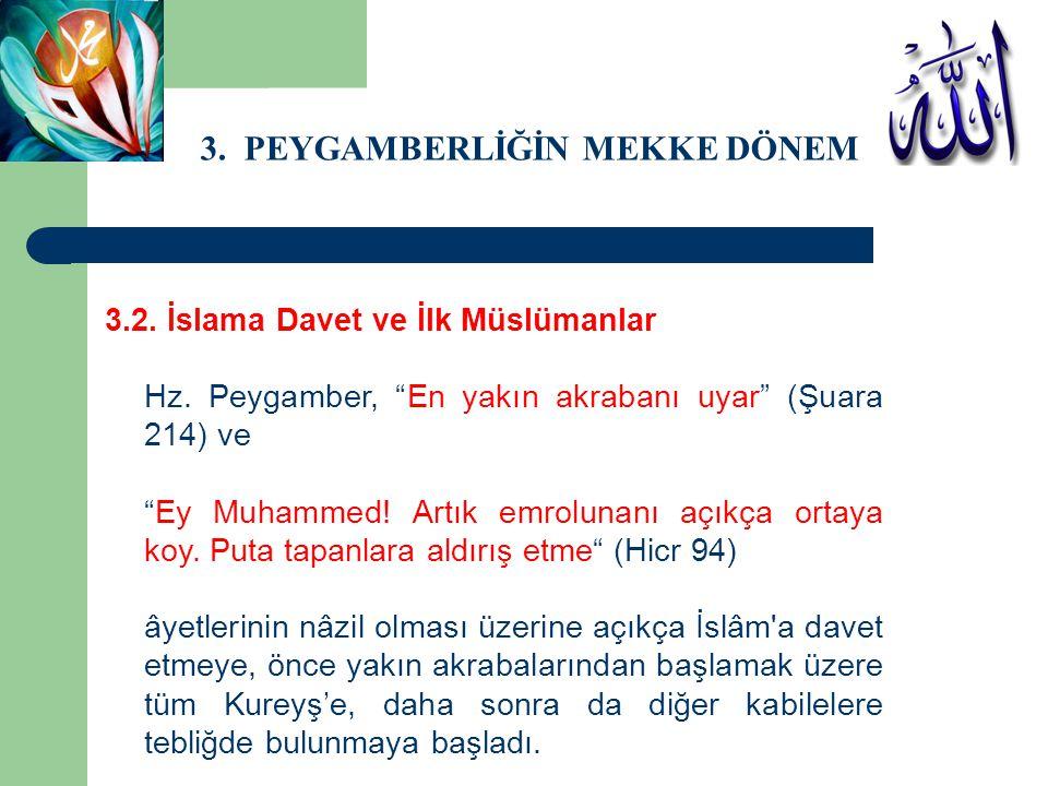 """3. PEYGAMBERLİĞİN MEKKE DÖNEMİ 3.2. İslama Davet ve İlk Müslümanlar Hz. Peygamber, """"En yakın akrabanı uyar"""" (Şuara 214) ve """"Ey Muhammed! Artık emrolun"""