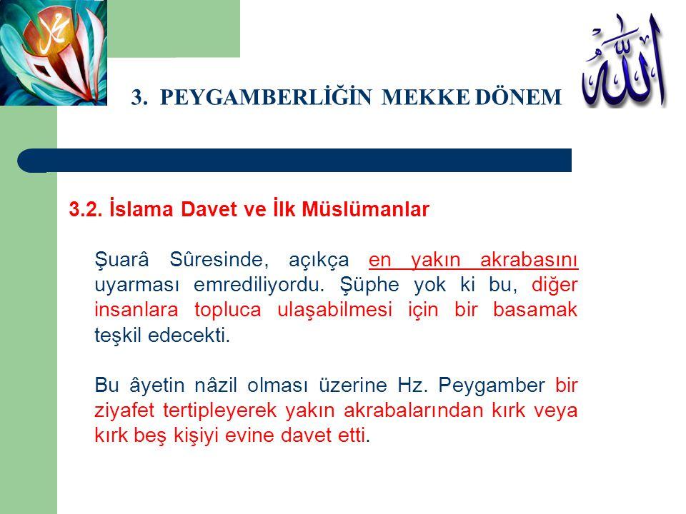 3. PEYGAMBERLİĞİN MEKKE DÖNEMİ 3.2. İslama Davet ve İlk Müslümanlar Şuarâ Sûresinde, açıkça en yakın akrabasını uyarması emrediliyordu. Şüphe yok ki b