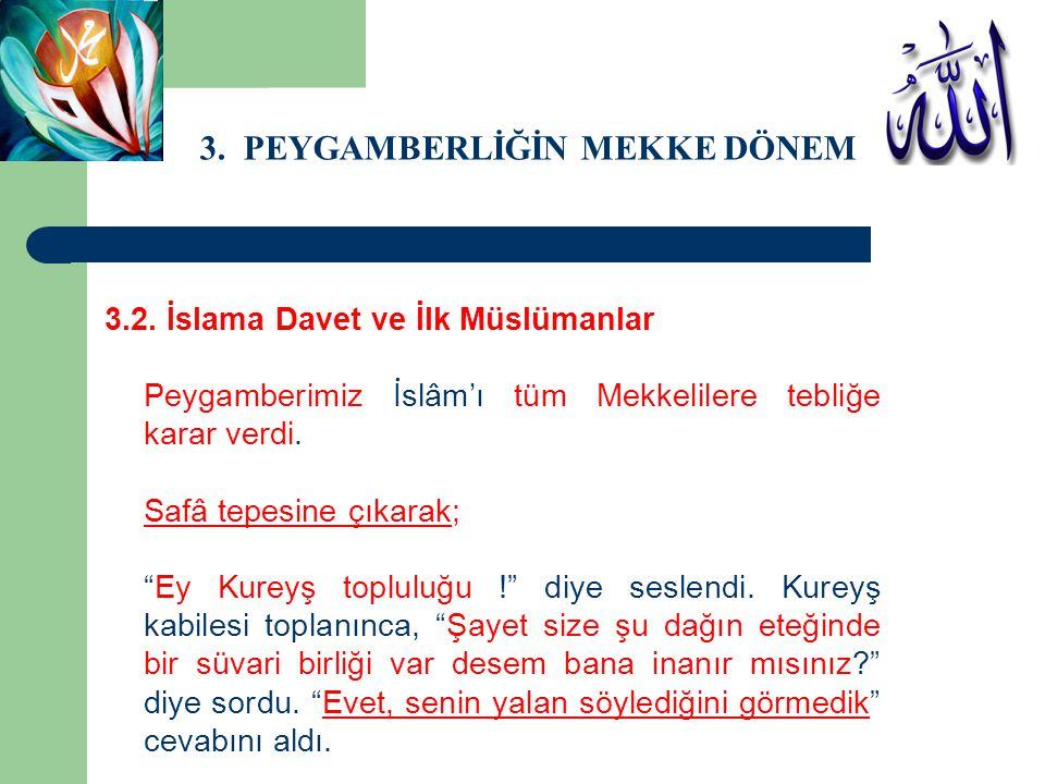 3. PEYGAMBERLİĞİN MEKKE DÖNEMİ 3.2. İslama Davet ve İlk Müslümanlar Peygamberimiz İslâm'ı tüm Mekkelilere tebliğe karar verdi. Safâ tepesine çıkarak;