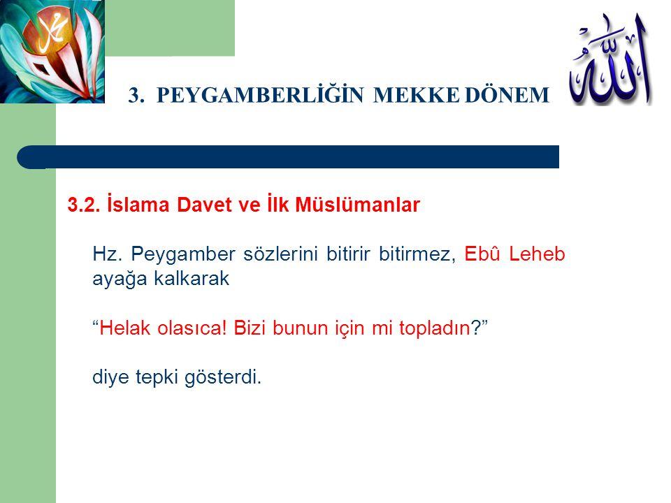 """3. PEYGAMBERLİĞİN MEKKE DÖNEMİ 3.2. İslama Davet ve İlk Müslümanlar Hz. Peygamber sözlerini bitirir bitirmez, Ebû Leheb ayağa kalkarak """"Helak olasıca!"""