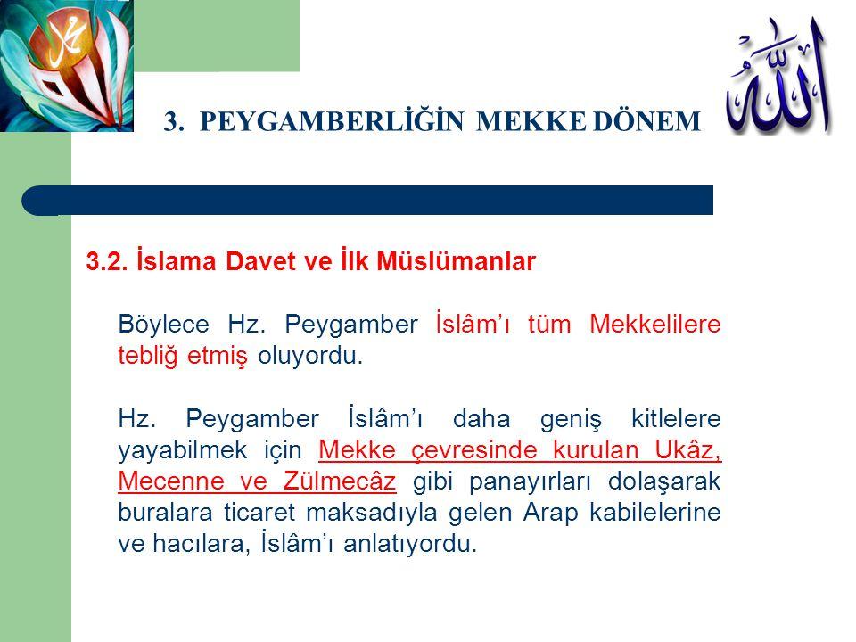 3. PEYGAMBERLİĞİN MEKKE DÖNEMİ 3.2. İslama Davet ve İlk Müslümanlar Böylece Hz. Peygamber İslâm'ı tüm Mekkelilere tebliğ etmiş oluyordu. Hz. Peygamber