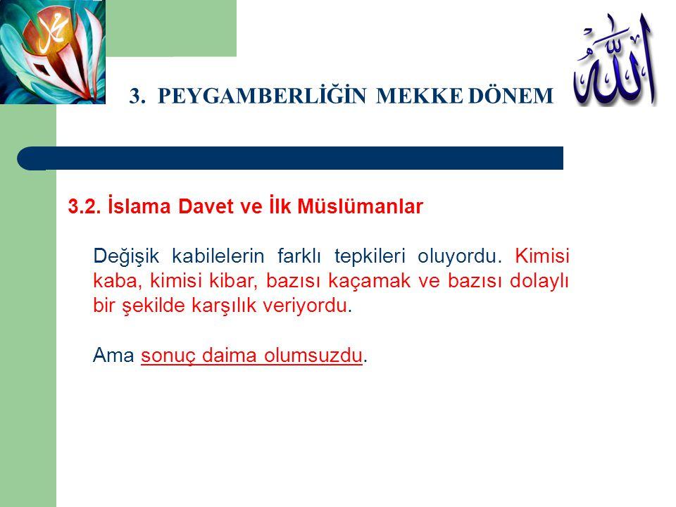 3. PEYGAMBERLİĞİN MEKKE DÖNEMİ 3.2. İslama Davet ve İlk Müslümanlar Değişik kabilelerin farklı tepkileri oluyordu. Kimisi kaba, kimisi kibar, bazısı k