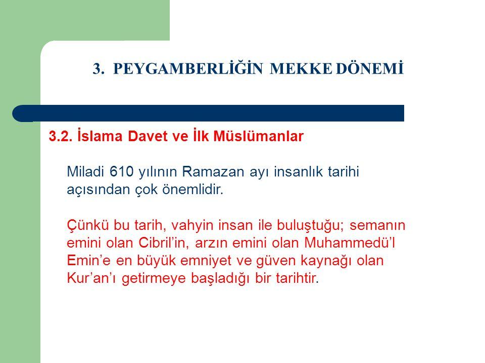 3. PEYGAMBERLİĞİN MEKKE DÖNEMİ 3.2. İslama Davet ve İlk Müslümanlar Miladi 610 yılının Ramazan ayı insanlık tarihi açısından çok önemlidir. Çünkü bu t